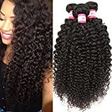 B&P Hair Virgin Brazilian Curly Hair Weave 3 Bundles 7A Unprocessed Brazilian Remy Human Hair Weave Extensions Natural Black Hair Color Can be Dyed and Bleached 8 10 12inches