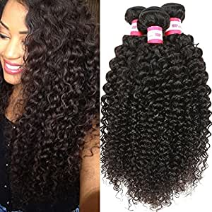 B&P Hair Unprocessed Brazilian Virgin Curly Hair Extensions 3 Bundles 100% Real Brazilian Remy Human Hair Weave 7A Grade Natural Black Color Full Head 14 16 18inches