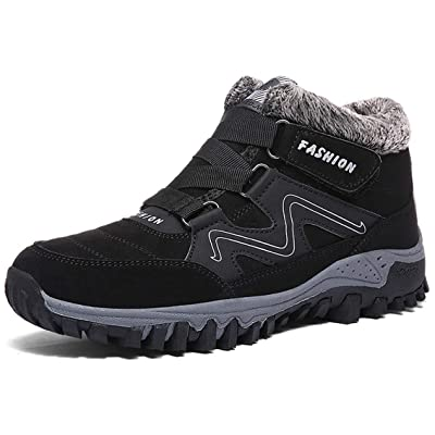MAIZUN Mens Snow Boots Anti-Slip Fur Lined Ankle Boots Outdoor Hiking Shoes Slip on Fashion Winter Shoes | Snow Boots
