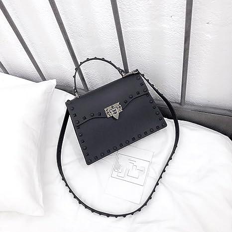 0c70da1811fc Amazon.com  Women s Shoulder Tote Bag Fashion Shoulder Messenger Jelly Bag  Rivet Female Bag Fashion Joker Female Bag