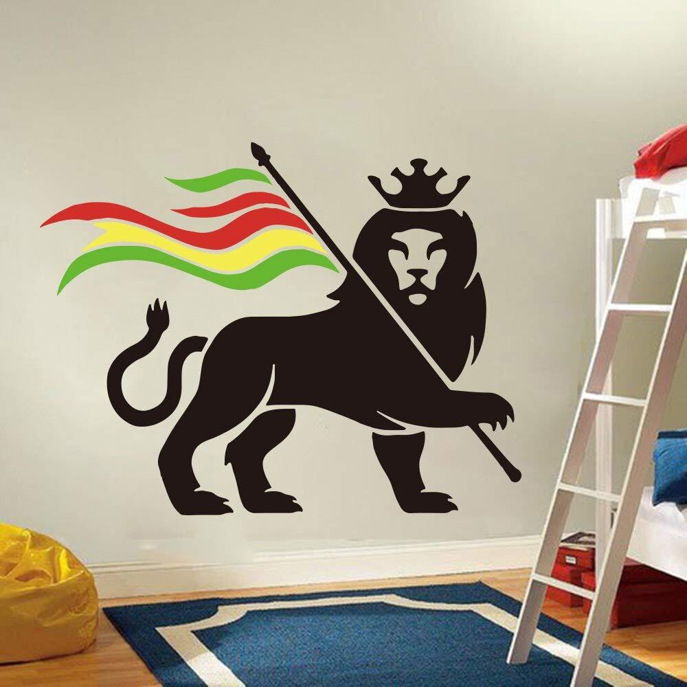 hllhpc Bob Marley Rasta Lion Crown Tatuajes de Pared Dormitorio ...