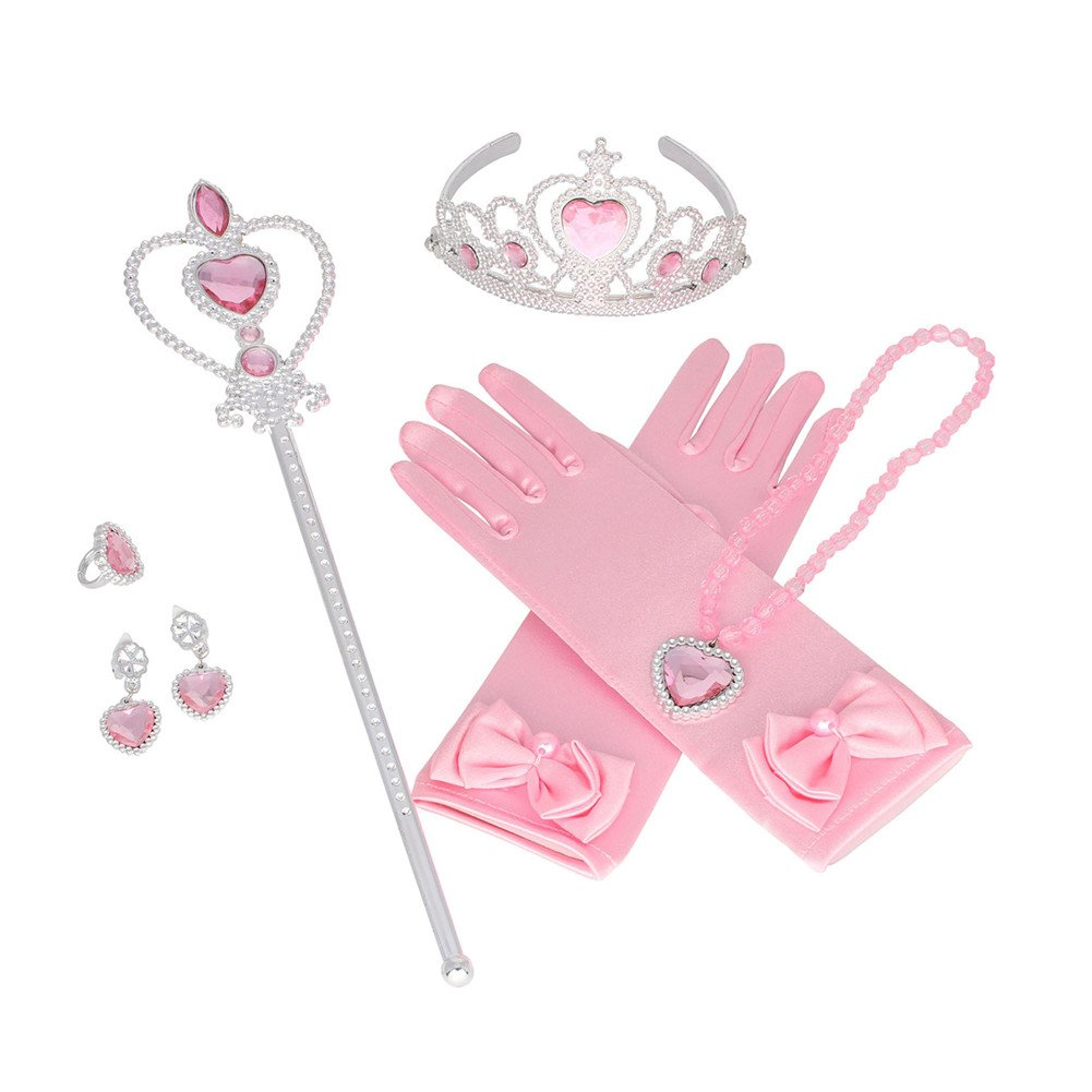 LifenewBaby Princess Party Cosplay Baby Girls Crown+Earrings+Necklace+Ring+Heart Magic Wand+Gloves 6 PCs Kits