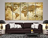 Modern Large Wall Art Vintage Old World Map Map Push Pin Canvas Print for Wall Decor - Wall Art Canvas Print Antique Travel Map for Home and Living Decoration - Ready to Hang - Framed - Ready to Hang