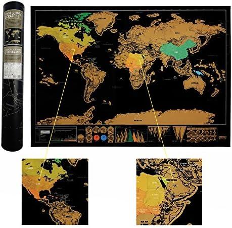 Luxury Edition negro rascar Mapa del mundo Deluxe Viajes arañazos Mapa del mundo viaje mapa mejor regalo para viajeros: Amazon.es: Oficina y papelería