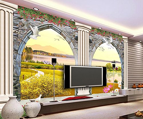 430cmX300cm European 3D doors and windows three-dimensional sculpture Roman column TV photo 3d wallpaper Home Decoration ,G by 3Ds wallpaper