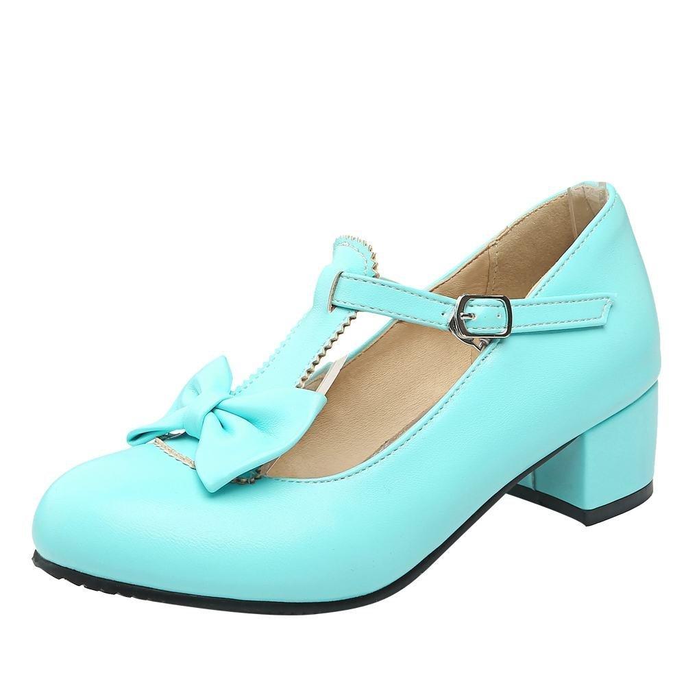1efbb4a828e5f6 YE Damen T Strap Pumps Blockabsatz High Heels mit Riemchen und Schleife  Rockabilly Süß Schuhe 40 EU