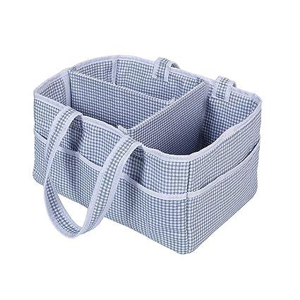 Caja de almacenamiento de pañales plegable para bebés, contenedor de almacenamiento de asas Cesta de
