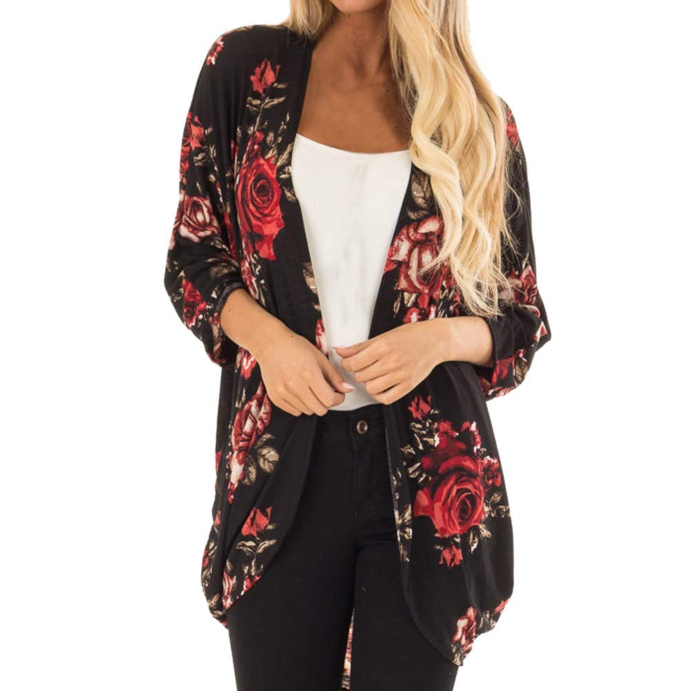 GIFC Fashion Women Chiffon Floral Kimono Loose Three Quarter Sleeve Shawl Print Cardigan Blouses Tops T-Shirts