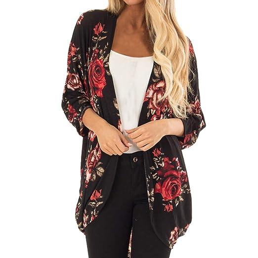 d9ee26c49ec41 Amazon.com: GIFC Fashion Women Chiffon Floral Kimono Loose Three ...