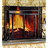 Large Two-Door Tubular Steel Fire Screen with Tempered Glass Accents, in Black