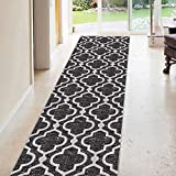 Kapaqua Rubber Backed 31-inch x 10-feet Long Runner Rug ANTHRACITE BLACK Moroccan Trellis Non-Slip Kitchen Entryway Hallway 3x10