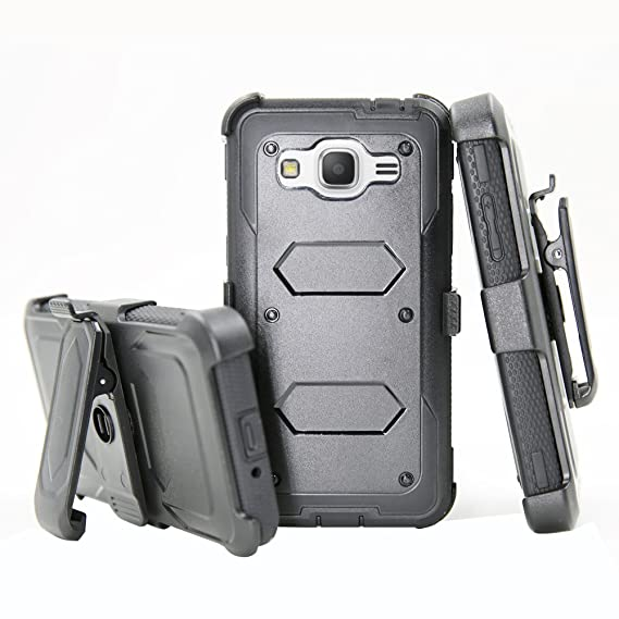 Galaxy J3 Case, Galaxy Express Prime Case, Galaxy Amp Prime Case,  Telegaming Rugged Durable Armor Hybrid Heavy Duty Protective Case Hard  Cover + Belt