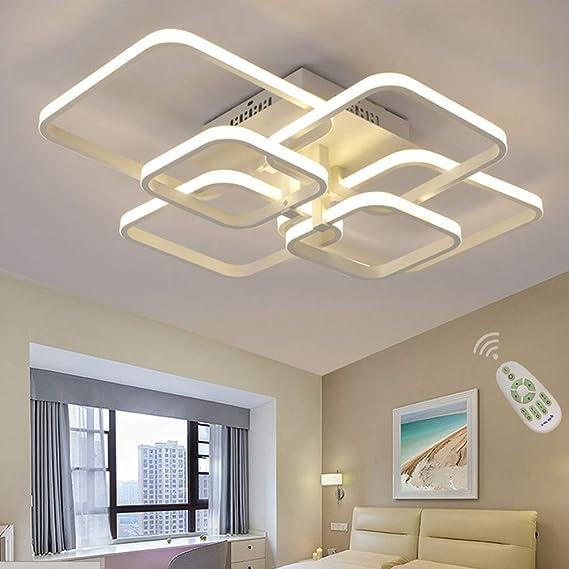 Lámpara de techo rectangular LED para comedor, comedor, salón, lámpara regulable con mando a distancia 3000 K - 6500 K, moderna, para el salón, el dormitorio, el baño, el pasillo, Blanco, L78cm: