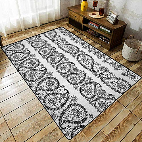 - Collection Area Rug,Paisley,Winter Themed Design and Lace Like Ornaments with Flowers and Snowflakes Art,with No-Slip Backing Black and White