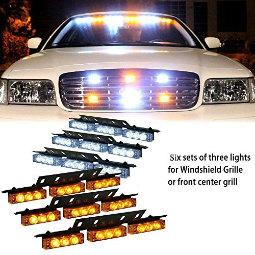 PACASK 54 LED Warning Use Flashing Strobe Lights Emergency Vehicle Strobe Lights Bar for Windshield Dash Grille(yellow/white)