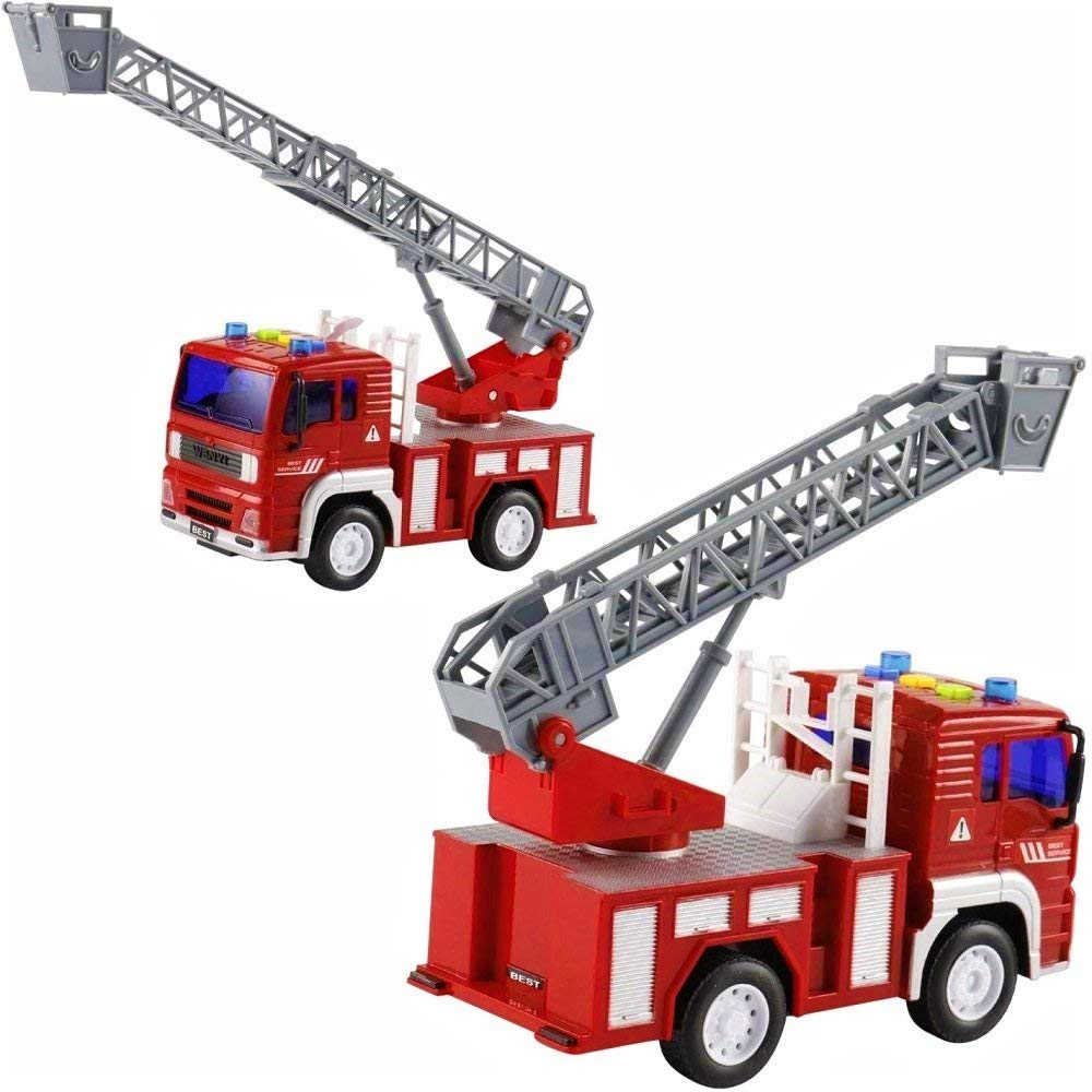 Powerful Friction Wheels 5 Fireman and Toy Figures Bonus Extendable Ladder Mini Firetruck Toy for Toddlers and Young Kids FUNERICA Toy Fire Truck with Lights and Sounds