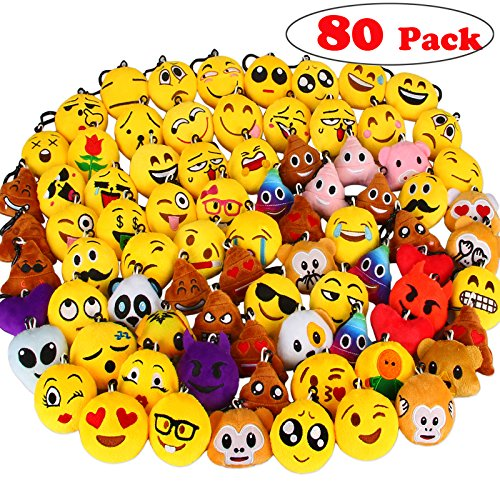Dreampark 80 Pack Emoji Keychain Mini Plush Poop Pillows, Party Favors for Kids, Christmas / Birthday Party Supplies, Emoticon School Backpack Clips Gifts Toys Prizes for Kids, 2