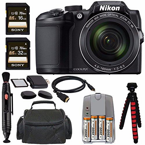 "Nikon COOLPIX B500 Digital Camera (Black) + NiMH Batteries and Charger Set + Sony 16GB SDHC Card + Sony 32GB SDHC Card + Memory Card Reader + Tripod + 6"" HDMI to Micro HDMI Cable Bundle"