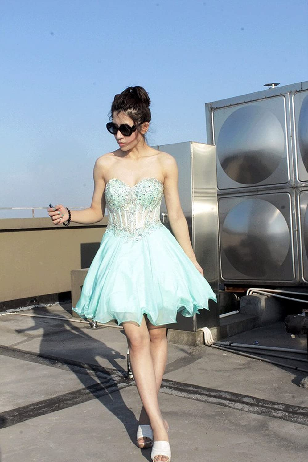 JoyVany Ruched Sweetheart Chiffon Short Party Dress Sexy Sheer Homecoming Gowns