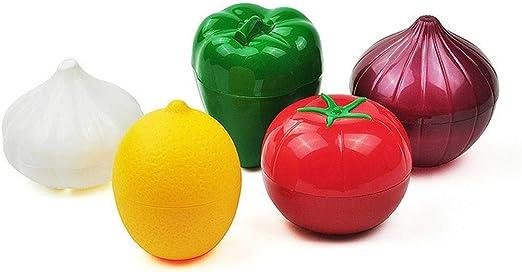 Fesjoy Cute Kitchen Vegetable Fruits Shaped Plastic Fresh Storage Box Crisper Lemon Tomato Orange Onion Garlic Green Pepper Holder Containers Case
