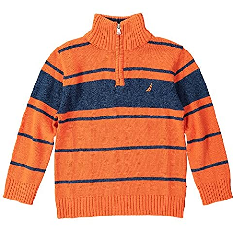 Nautica Little Boys' Qtr Zip Stripe Sweater with Indigo Marl, Orange, Large ()