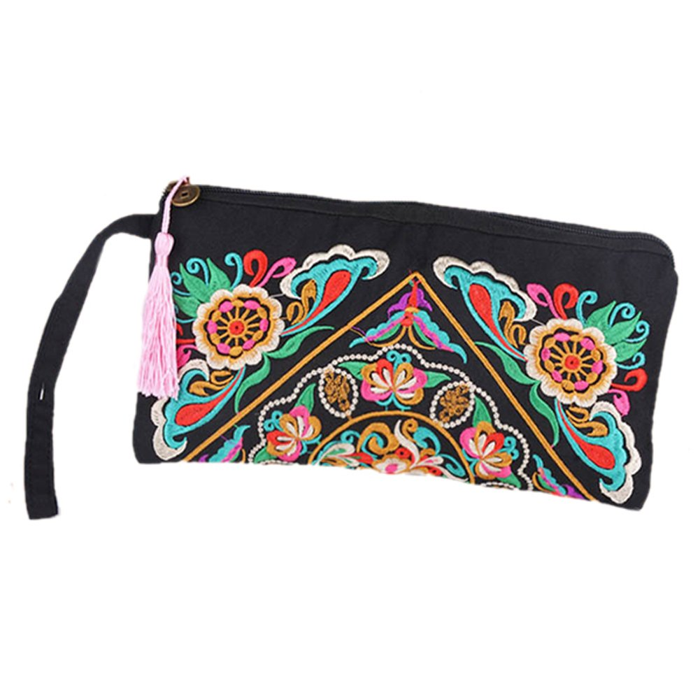 ETOSELL Lady Handbag Purse Handmade Nation Retro Embroidered Bag Wallets Zip Wristlets