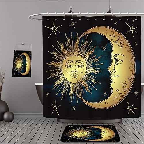 Sonata 1 Piece Shower (Uhoo Bathroom Suits & Shower Curtains Floor Mats And Bath Towels 524177908 Antique style hand drawn art golden sun, crescent moon and stars over blue black sky. Boho chic tattoo design vector illustra)