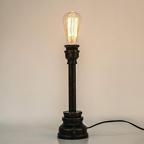ALIYAYA Creative Lámpara de mesa Hierro Acero Pipa de agua Mesa ...