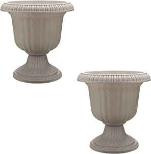 Southern Patio Large 14 Inch Outdoor Garden Lightweight Utopian Urn Planter with UV-Coated Finish for Entryways, Walkways, and More, Stone (2 Pack)