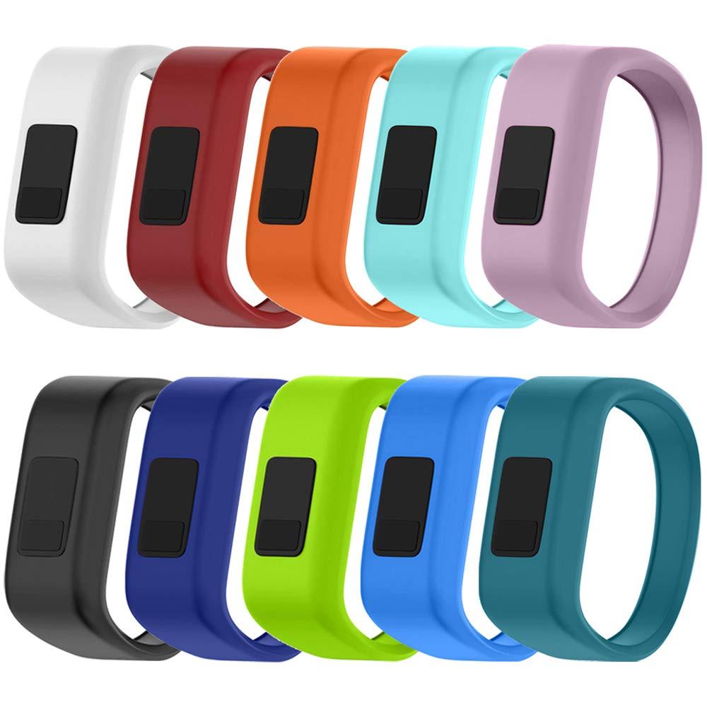"QGHXO Band for Garmin Vivofit Jr/Vivofit Jr. 2, Soft Silicone Replacement Watch Band Strap for Garmin Vivofit Jr/Vivofit Jr. 2 Activity Tracker, Small, Large (10PCS Bands, Small: 5.7"")"
