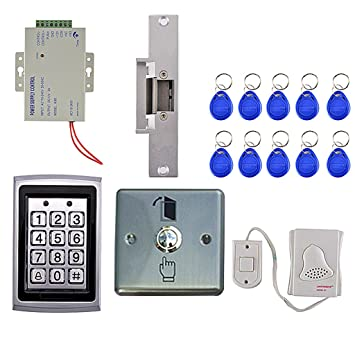 Dovewill Access Control System Door Entry Controller, Code Keypad Key Fods  Exit Button Door Bell