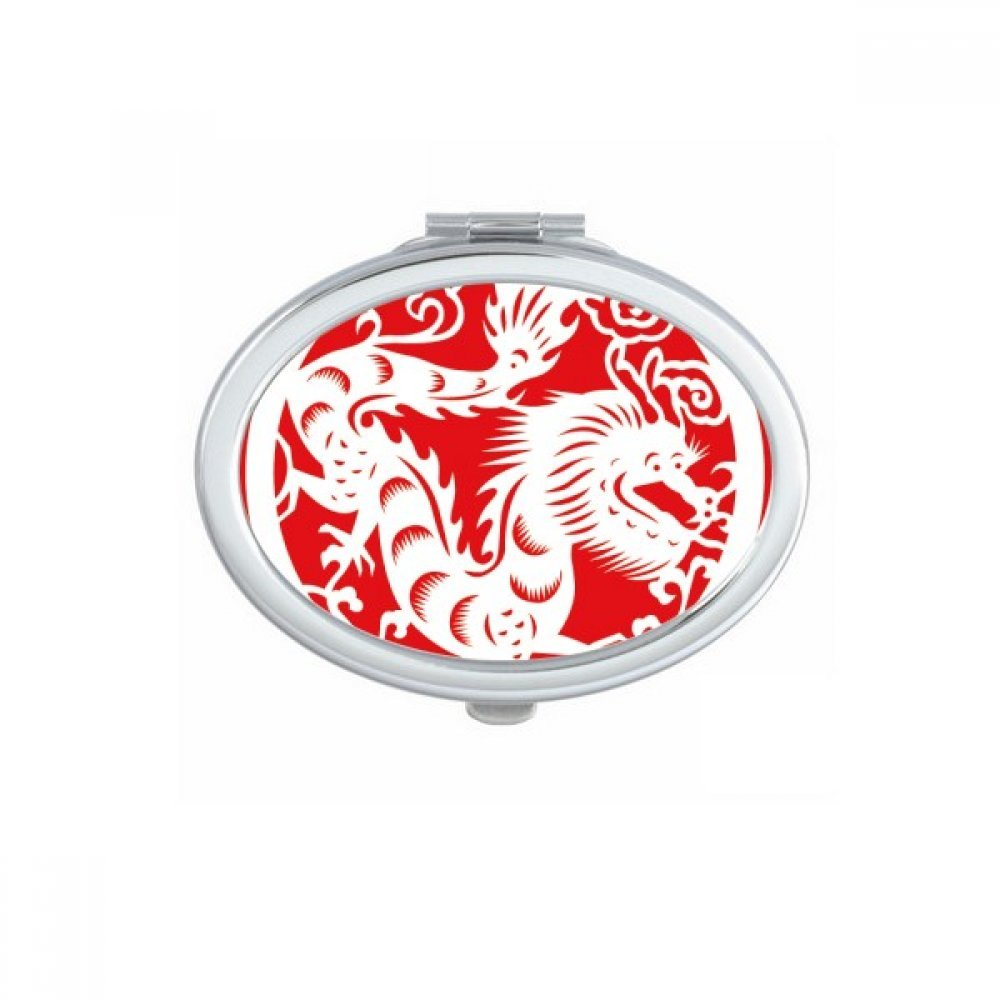 DIYthinker Paper-cut Dragon Animal China Zodiac Art Oval Compact Makeup Mirror Portable Cute Hand Pocket Mirrors Gift