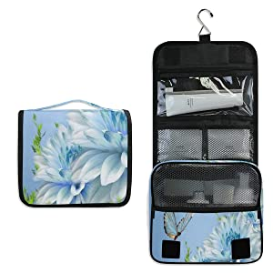 Hanging Toiletry Bag Beautiful Flowers And Butterflies Birds Large Cosmetic Makeup Travel Organizer for Men & Women with Sturdy Hook