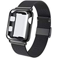KOUUNN Compatible for Apple Watch Band 38mm 40mm 42mm 44mm with Screen Protector Case, Sports Wristband Strap Replacement Band with Protective Case for Iwatch Series 4/3/2/1