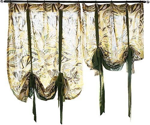 YOUSA Tropical Jungle Adjustable Curtains for Bedroom Tie-Up Kitchen Curtain 49 W x 75 L,One Panel