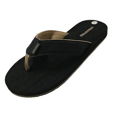 716dd407020 URBANFIND Men's Casual Flip Flops Suede Thongs TPR Non-Slip Slippers Beach  Slides Wide Sandals