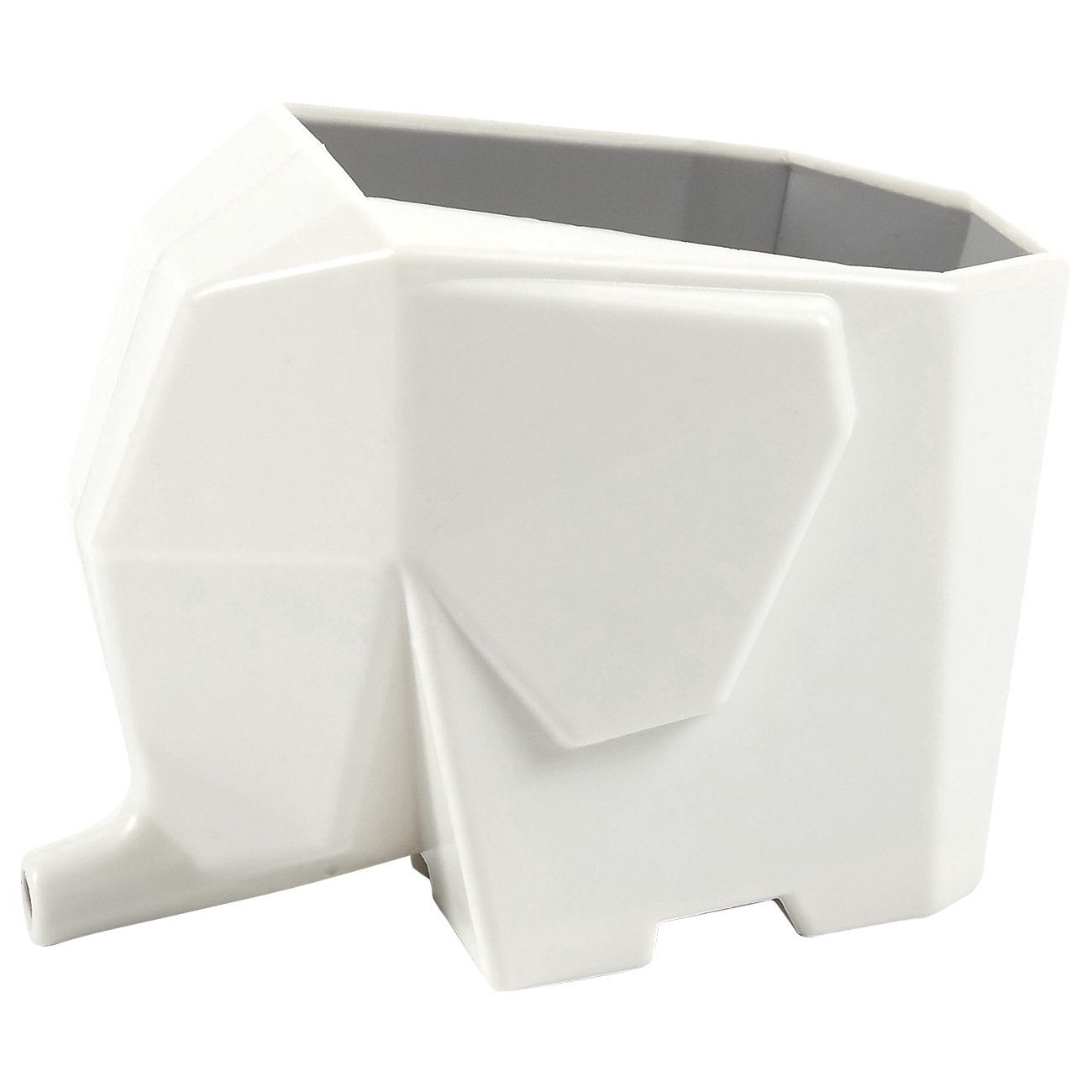 Elephant Plastic Kitchen Cutlery Drainer - Dinnerware Utensils Storage, Tooth Brushes Organizer for Bathroom, Sink, Bedroom Cosmetic Organized Holder, Storage Box - White, 6 x 4.75 x 3.75 Inches Juvale