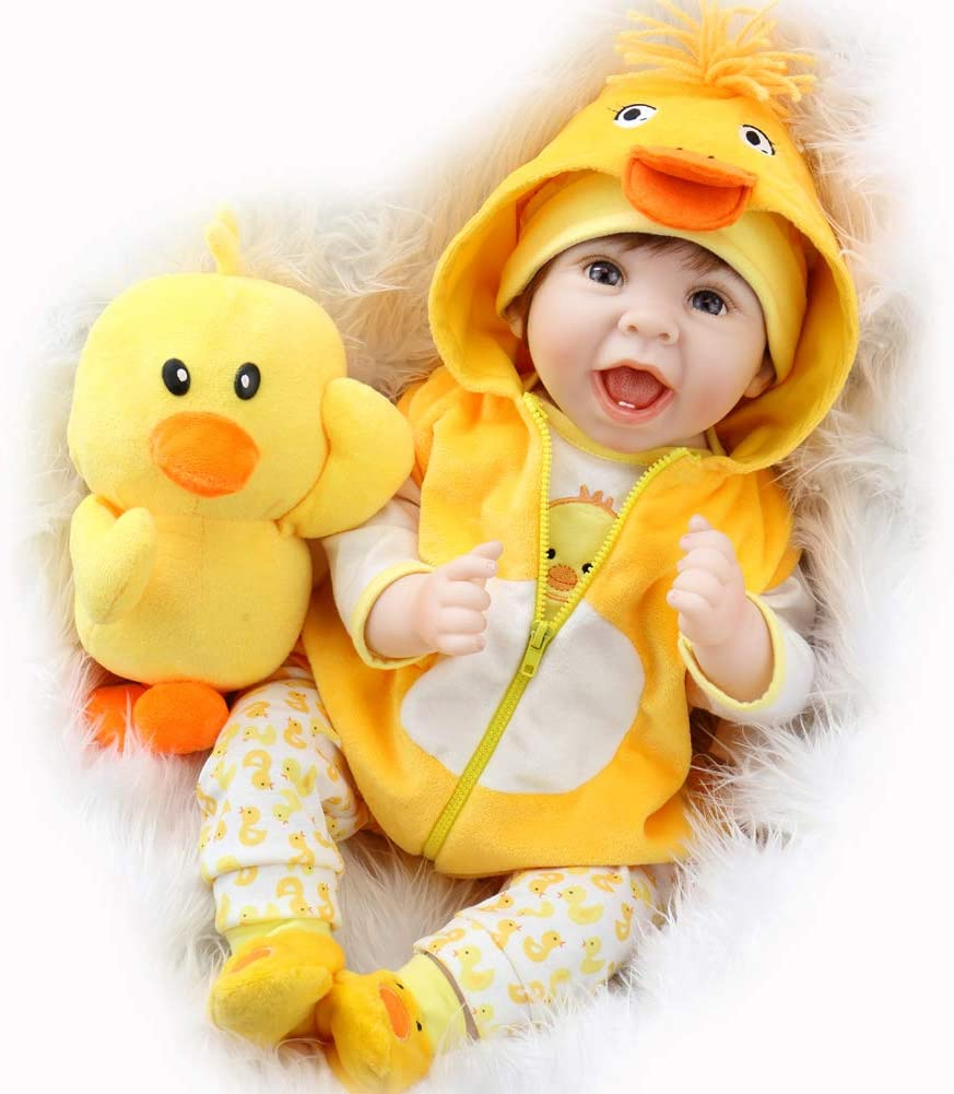 Aori Lifelike Realistic Reborn Baby Dolls 22 Inch Weighted Reborn Girl Doll with Yellow Clothes and Duck Toy