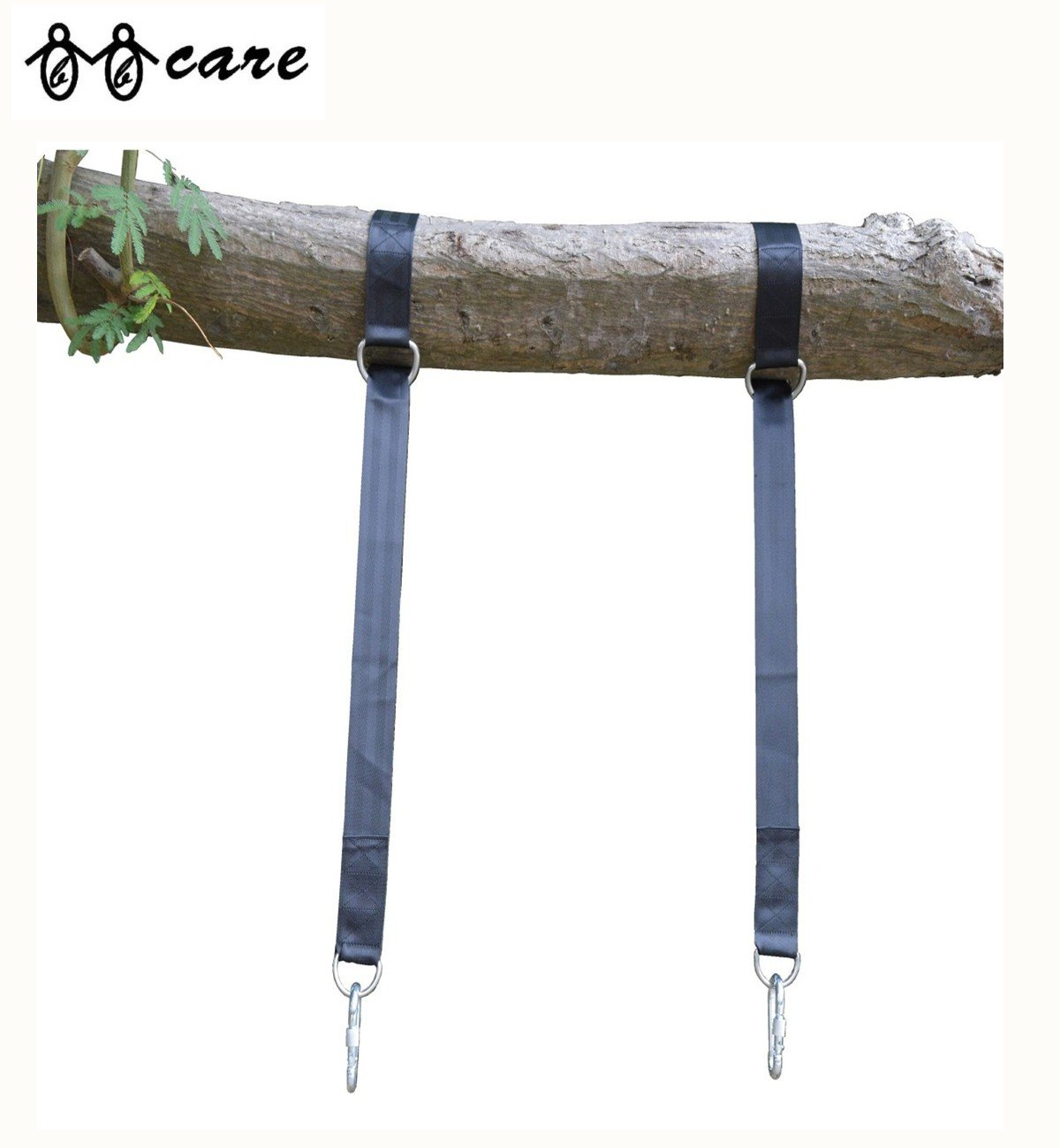 BBCare Tree Swing Hanging Kit, 2pcs 120cm Extra Long Straps with 2 Carabiners and Snap Hooks w Locking Screw Gate