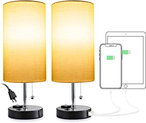 Consciot USB Bedside Table Lamp, Beige Cylinder Shade Nightstand Lamp with 2 USB Charging Ports & 2-In-1 Outlet, Desk Lamp with Pull Chain for Bedroom, Guest Room, Office, 2 Pack (BULB NOT INCLUDED)