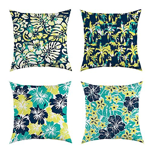4TH Emotion Abstract Summer Flower Throw Pillow Cover Decor Cushion Case for Sofa Couch 18 x 18 Inch Cotton Canvas Set of 4