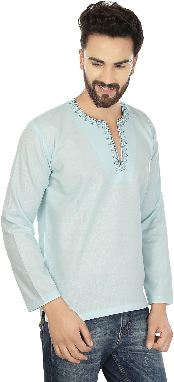 MapleClothing Hemd Gesticktes M/änner Kurz Kurta Cotton Mode Indien Bekleidung