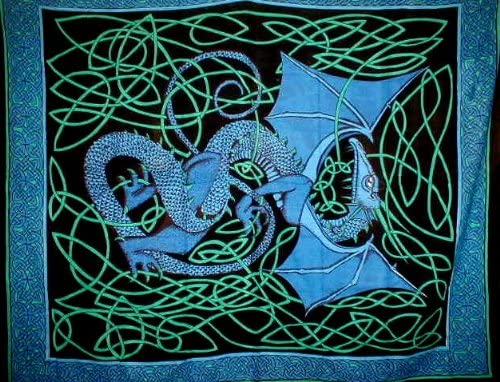 Celtic Dragon Tapestry-Wall Hang-Unique Home Decor