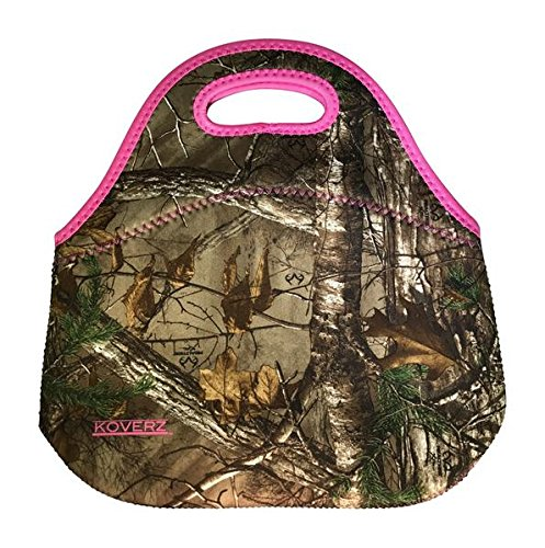KOVERZ - #1 Neoprene Lunch Bag, Outdoor Bag - CHOOSE YOUR STYLE! - RealTree Camo (Pink Camo Lunch Box)