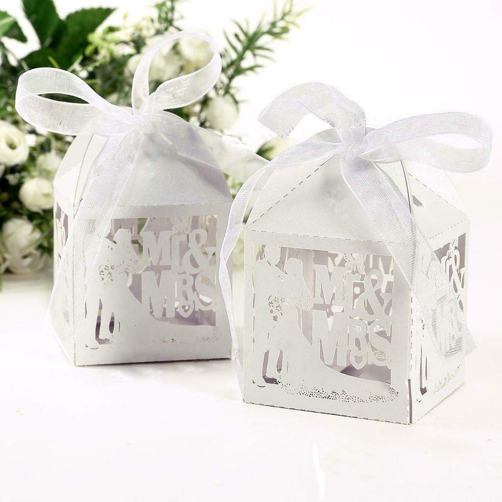 50pcs Bride and groom Paper Candy Boxes Gift Ribbon Wedding Party Favor Box Gift