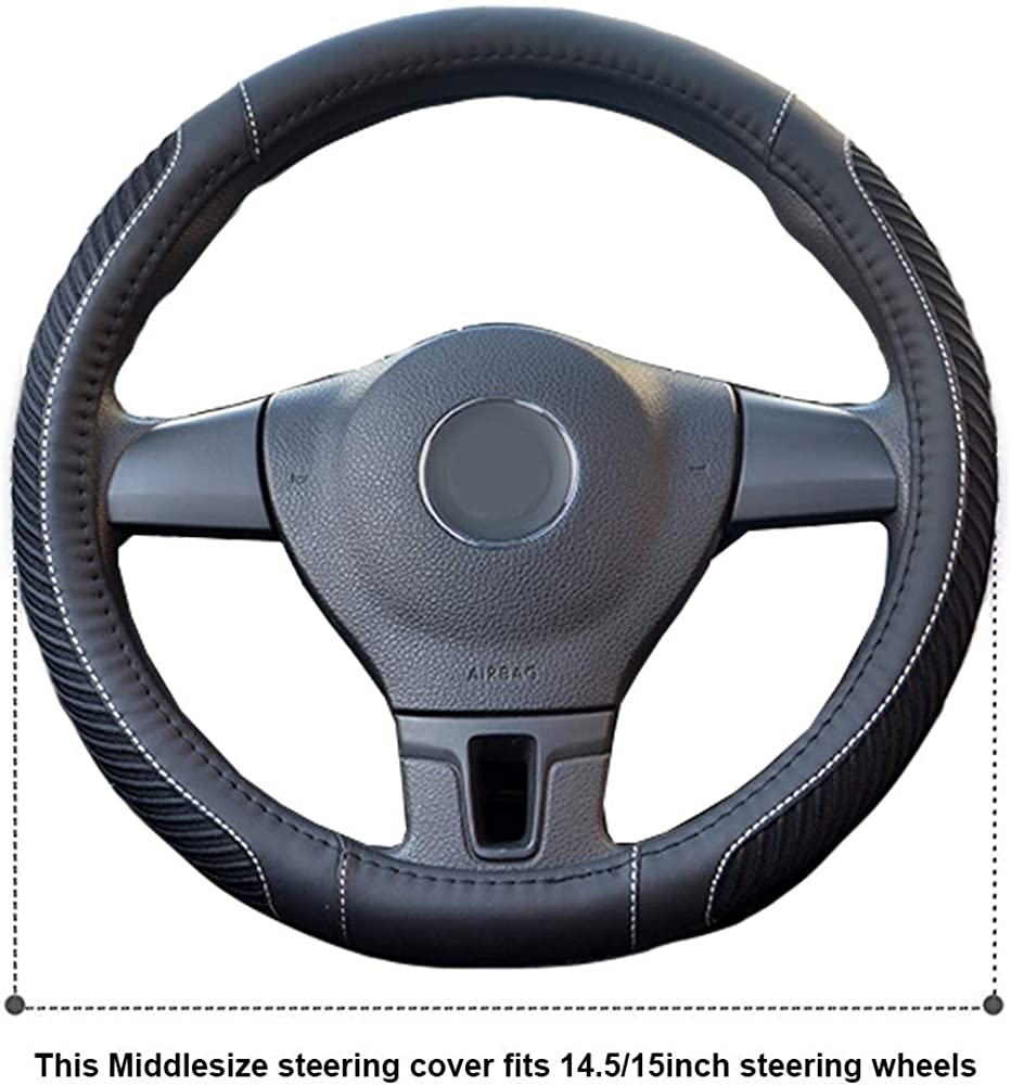 Tonquu Steering Wheel Cover Breathable Anti-Slip Warm in Winter Cool in Summer No Smell Universal 15 Inch Microfiber Leather Car Steering Wheel Cover for Car Truck SUV