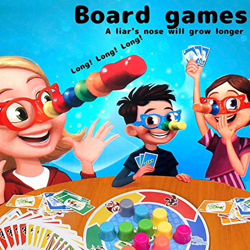 "Mingbai Family Fun ""Liar"" Game Fibber Board Game Includes Funny Glasses and Cards Growing Nose Interesting Family Interactive Toys for Kids Adults"