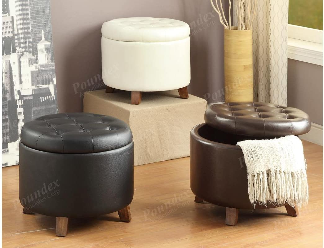 Poundex 1 x Removable Cover Circular Shaped Ottoman with Storage, Black