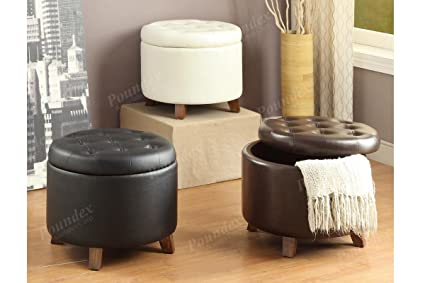 Bon Poundex 1 X Removable Cover Circular Shaped Ottoman With Storage, Brown