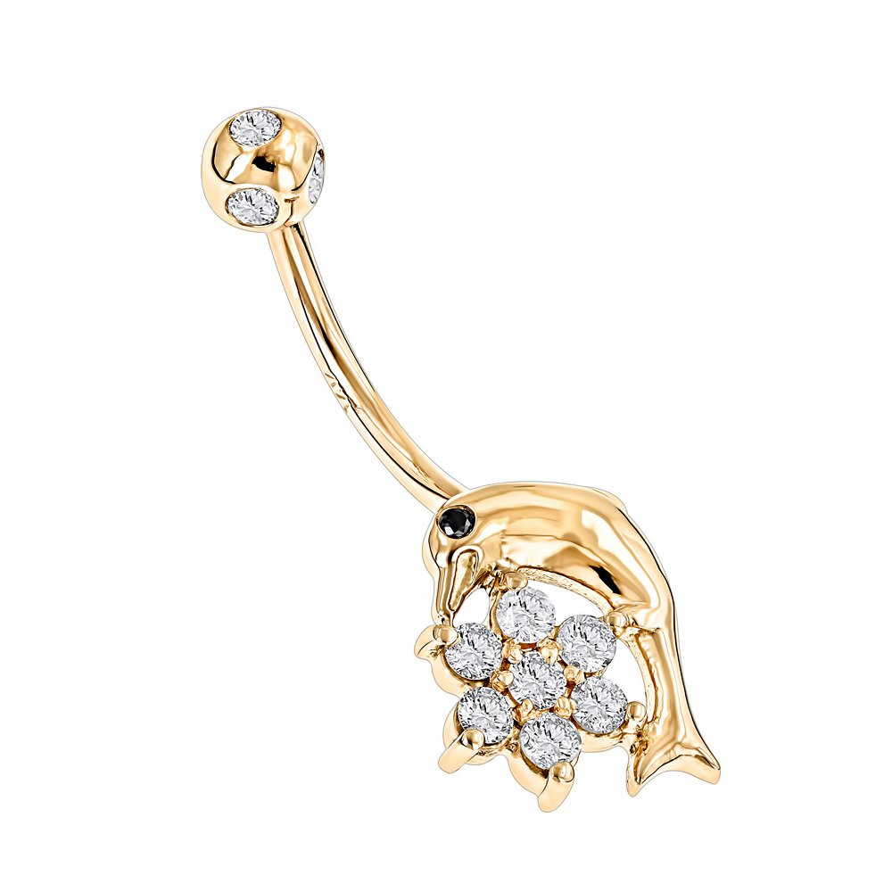 Luxurman 14K Natural Diamond Body Jewelry Dolphin Belly Button Ring (Yellow Gold)